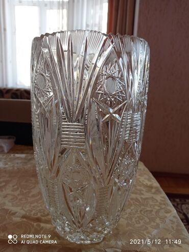 Хрустальная ваза для цветов. Новая. Длина 35 см