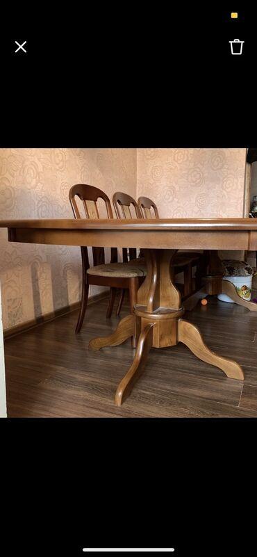 стол и стулья для гостиной в Кыргызстан: Продаю стол длиной 2,5 метра, со стульями (12 штук). В отличном состо
