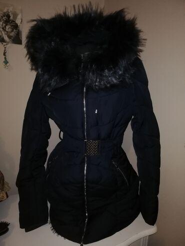 Teget potpuno nova zimska jakna Vrhunska Sa kapuljačom i teget krznom