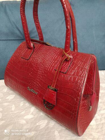 Шикарная кожаная сумка-саквояж,новая