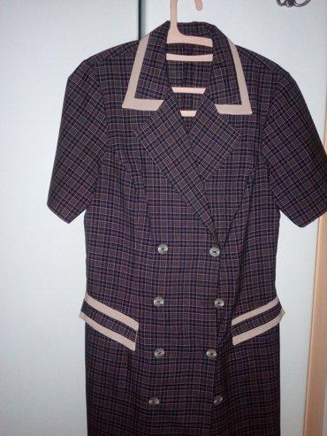 Vrlo lepa mantil haljina, kombinacija teget i drap boje, sivena, vel. - Valjevo