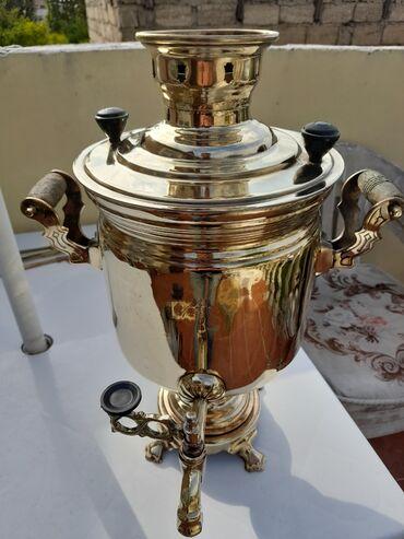 latun - Azərbaycan: Tula sari 5 litr mis latun qarişigi samovar.Agir .Tula peçati