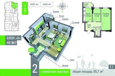 2-х комнатная квартира площадью 55,7 кв. м - имеет очень удобную