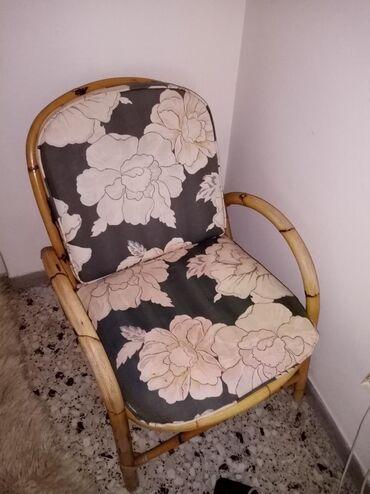 Μπαμπού πολυθρόνα vintage υπάρχει ακόμα μια ίδια. 100 ευρώ οι δυο