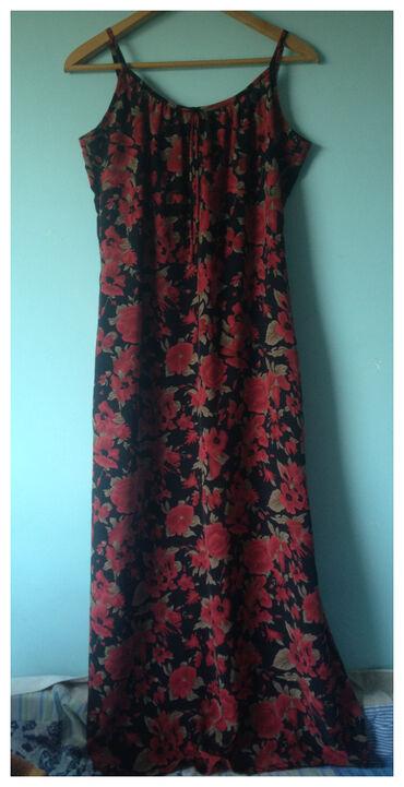 Cvetna maxi haljina. Dugačka, letnja, lagana haljina na bretele. Meni
