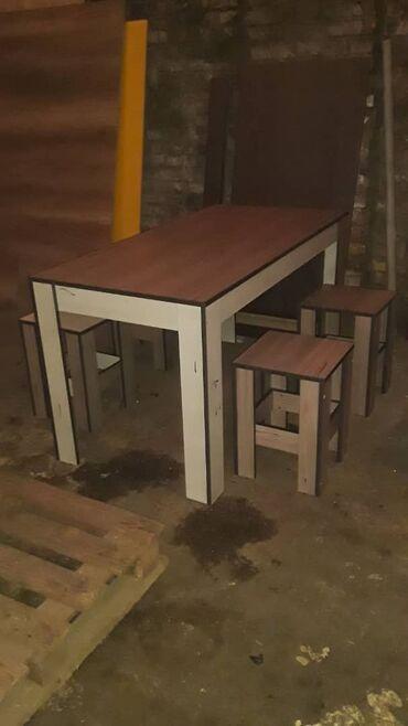 письменный стол для школьника в Кыргызстан: Комплект стол и стулья   Офисный, Для кафе, ресторанов, Кухонный   на 4-6 персон