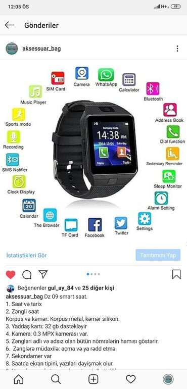 Yeni smart watch DZ09Sim kart ve yaddas karti daxil etmek