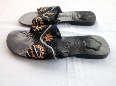 Natikače | Srbija: Kožne papuče br. 39. Dužina ukupnog gazišta je 25,5 cm (mereno od