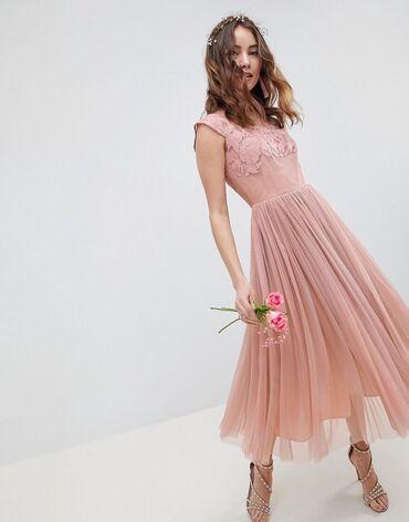 платье миди в Кыргызстан: Миди платье ASOS нежно-розового цвета. Размер S-M
