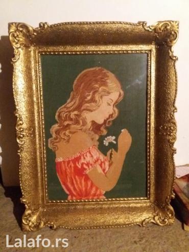 Devojka - Srbija: Goblen, rucno radjen, devojka sa cvetom, dimenzija 65x50 cm