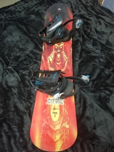 Лыжи - Кыргызстан: Сноуборд (125)детск+крепления лRossignol) +ботинки(Elan) 38
