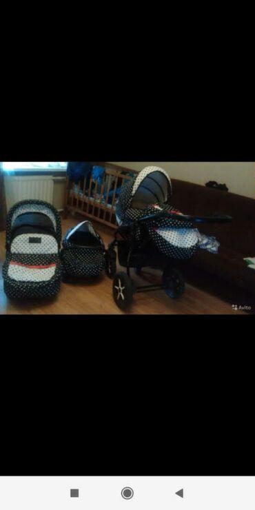 удобные коляски для новорожденных в Кыргызстан: Российский коляска 3в1. Состояние хорошее. Одно колёса с другой фирм