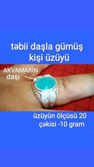 Bakı şəhərində Gümüş kişi üzüyü ölçüsü 20 üzərində təbii akvamarin daşı