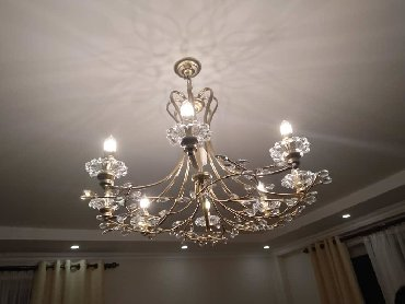 пояльные лампы в Кыргызстан: Люстра матовое золото хрусталь на 8 ламп и 6 ламп