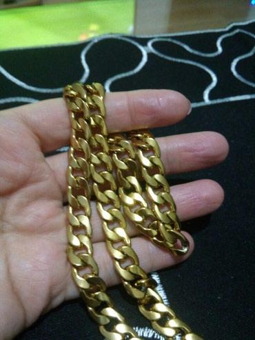 Hirurski celik u boji zlata,masivan lanac.1cm,60 cm - Belgrade