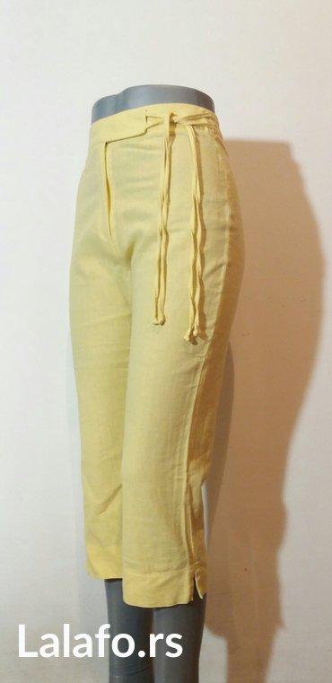Pantalone letnje 7/8 duzine,divne limun zute boje od mesavine lana i p - Beograd - slika 4