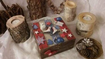 Drvena kutija za nakit ili sitnice 15 x 15 cm rucni rad u dekupaz - Novi Sad