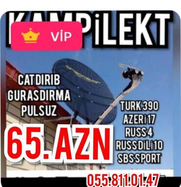 TV/video üçün aksesuarlar - Azərbaycan: KrosnaNegdi 65 azn390 HD kanallarCatdirib gurasdirma pulsuzResmi