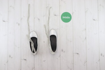 Детская обувь - Б/у - Киев: Дитячі сріблясті балетки с зав'язками Crazy    Довжина підошви: 21 см