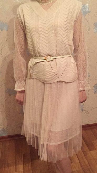 Платье-двойка ,нежно молочного в Бишкек