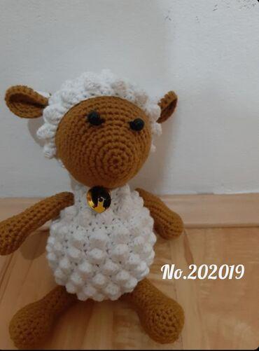 Vunica - Srbija: Rucno heklana ovcica23 cm, izradjena od kombinacije pamuka i mekane