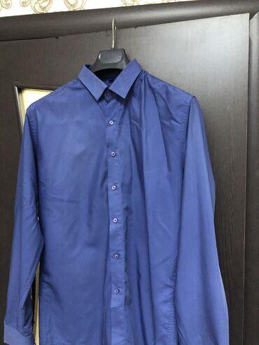 Рубашка мужская, брала в Италии за 4500, одета 1 раз, цвет темно-синий