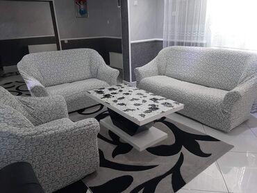Garniture - Srbija: Rastegljiva presvlaka sa radom cveticima pamuk-likra novi model Za