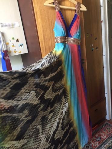 длинное шифоновое платье в Кыргызстан: Шифоновый Сарафан очень красивый совершенно новый размер 46-48 длинн