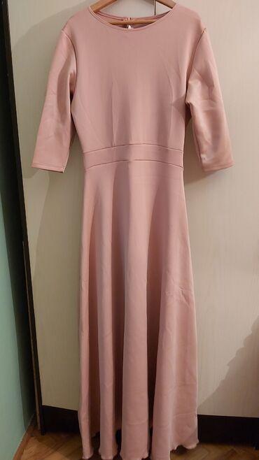 Duga haljina - Srbija: Nova, prelepa dugacka haljina. Materijal skuba, u puder roze boji. Za