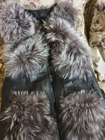 Срочно продается меховая жилетканатуральная кожа и чернобурка