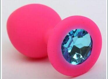 Секс игрушка Анальная ювелирка pink\blue SСиликоновая анальная пробка