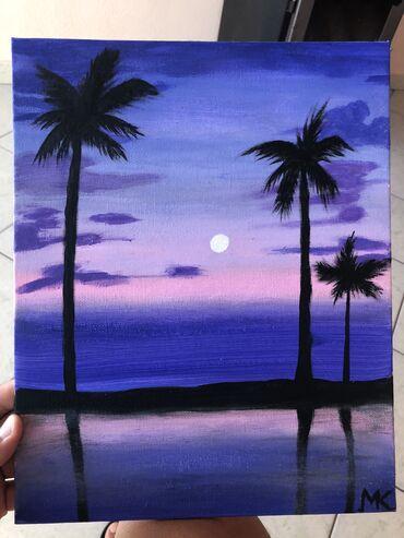 Purple sky sunset  Χειροποίητος πίνακας ζωγραφικής 30x24 cm