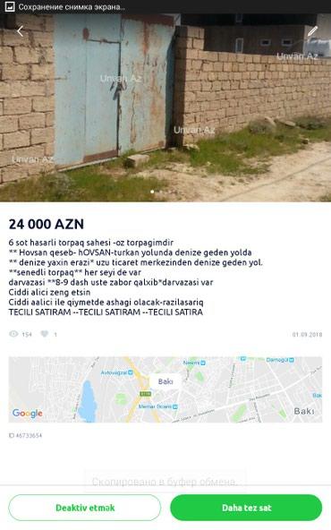Bakı şəhərində TECILI SATILIR , 6 SOT TORPAG SAHESI 24,000 AZN E , WHATSAPDA VARAM.