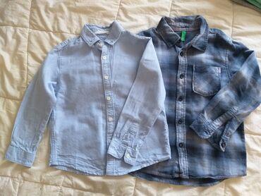 Benetton karirana suknjacm pamuk - Srbija: Košulje za dečaka,obe vel.4, jedna brenda H&M, druga Benetton, par
