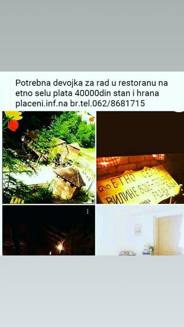 Konobarica - Srbija: Potrebana konobarica ETNO SELO VILINE VODE U RADALJU UDALJENO OD