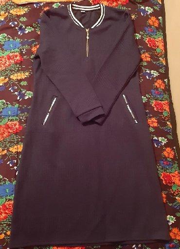 Теплое платье. Новая. размер 46.свет темно синий в Бишкек