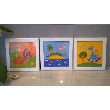 3 παιδικά καδράκια σε άριστη κατάσταση  Διαστάσεις: 9,50 x 9,50 εκατ