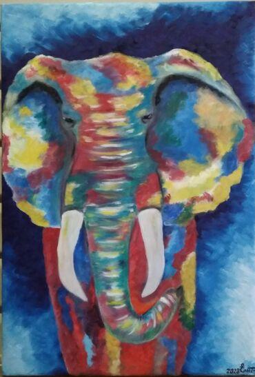 Картины ручной работы,холст,масло.Радужный слон64/44, Натюрморт 52/43