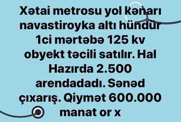 Xətai metrosu yol kenari navastroyka alti hündür 1 ci mərtəbə 125 kv