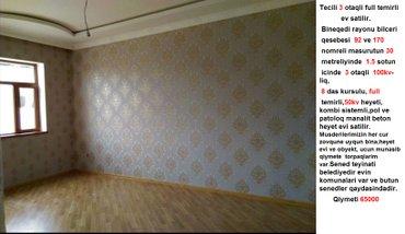 Bakı şəhərində Tecili 3 otaqli full temirli ev satilir. Bineqedi rayonu bilceri