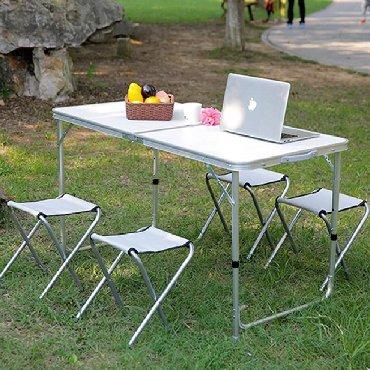 Piknik stolu qatlanan stol stul (teze mallar)120x60 sm eni uzunu70 sm
