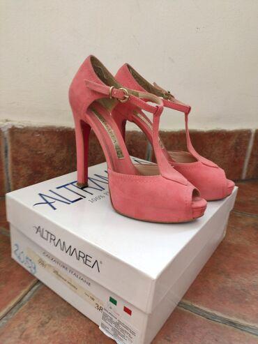 Roze altamarea sandale na štiklu od prevrnute kože spolja i kože