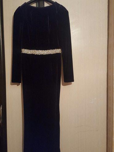 Платье черное велюровое с камнями в Бишкек