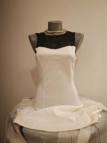 Bela-haljina-sa-cipkom - Srbija: Bela svecana haljina sa crnom cipkom velicina : S Nosena par puta