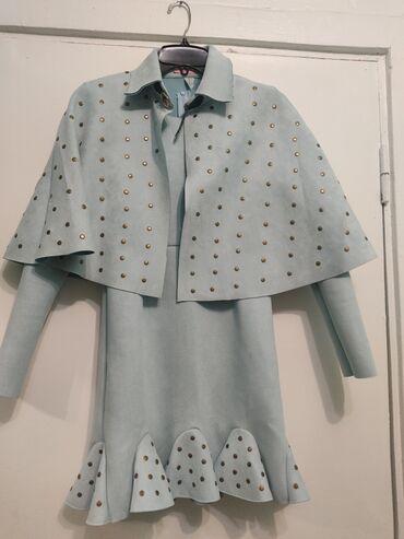 теплые платья для полных в Кыргызстан: Платье с накидкой. Ткань спандекс. Стрейч. Размер s. Теплое