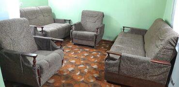 Диваны в Кыргызстан: Мягкая мебель два дивана большой маленький и два кресла в хорошем