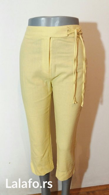 Pantalone letnje 7/8 duzine,divne limun zute boje od mesavine lana i p - Beograd - slika 3