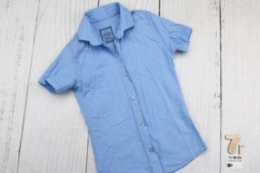 Рубашка с коротким рукавом для мальчика,голубая,возраст 7 лет