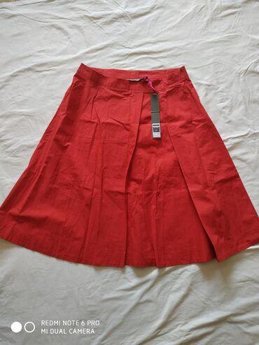 Трикотажную двойку - Кыргызстан: Юбка красная -новая(ткань х.б.плотный ситец) на запах,длина ниже