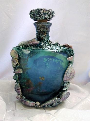 """раковины в Азербайджан: Бутылка """"Океан"""". Декорирована вручную натуральными раковинами и"""